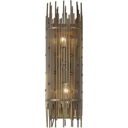 Hailey Wall Sconce - Deco inspired direct wire wall sconce made of aged brass.