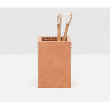 Aged Camel Full-Grain Leather Brush Holder.