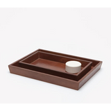 Tobacco Full-Grain Leather Tray Set.