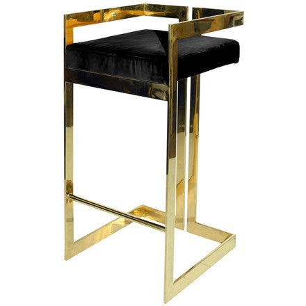 Worlds Away Hearst geometric brass frame bar stool with a black velvet upholstered seat.
