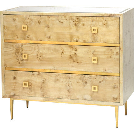 Worlds Away Hudson three drawer burlwood chest with an inset beveled mirror top and gold leaf metal base and square drawer pulls.