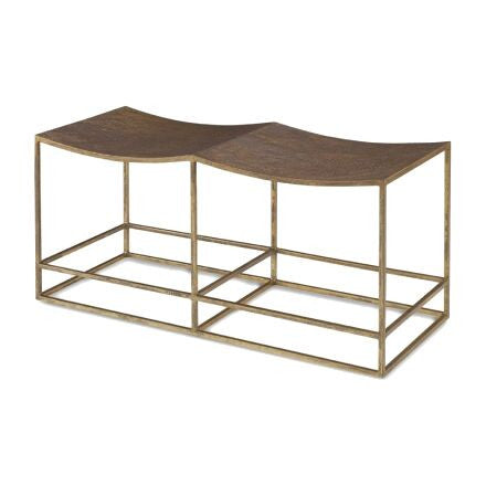 Hutton Double Bench - Hammered aurelius gold bench with two curved seat, supported by a double bar base frame.