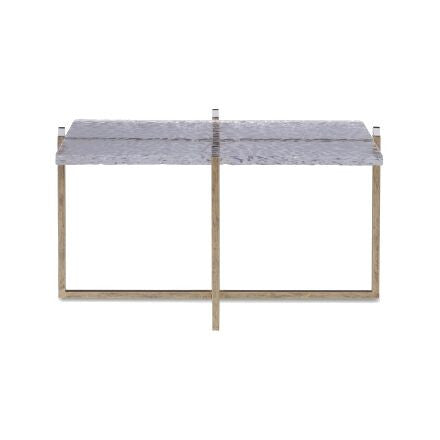 Jensen Coffee Table - Gold framed coffee with lucite tips and textured lucite insert.