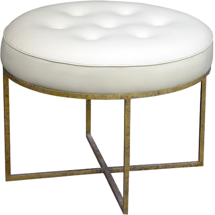 Hand crafted iron base with a tufted upholstered top.