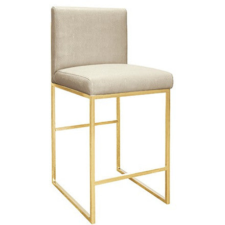 Worlds Away Kingston beige faux shagreen upholstered counter stool with a brass base.