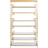Worlds Away Lamar eight shelf gold leaf etagere with clear glass shelves.