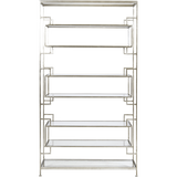 Worlds Away Lamar eight shelf silver leaf etagere with clear glass shelves.