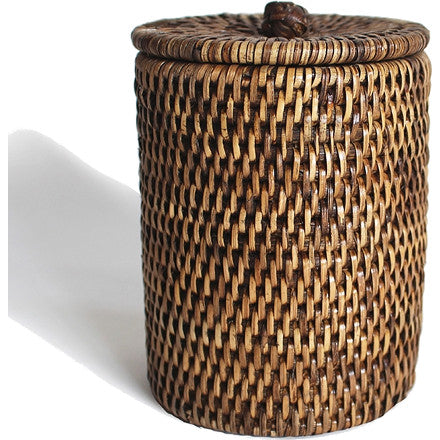 Antique brown woven rattan bath container with a knot finger grip on the lid.