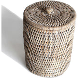 White wash woven rattan bath container with a knot finger grip on the lid.