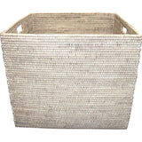 Large white wash woven rattan basket with handles. Makes a great laundry basket!