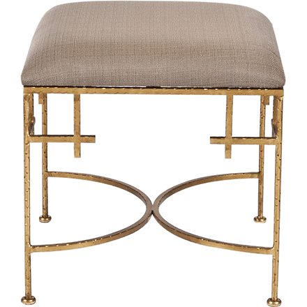 Worlds Away Lolita hammered gold leaf base stool with a brown linen upholstered top.