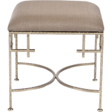 Worlds Away Lolita hammered silver leaf base stool with a brown linen upholstered top.