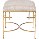 Worlds Away Lolita hammered gold leaf base stool with a faux snakeskin upholstered top.