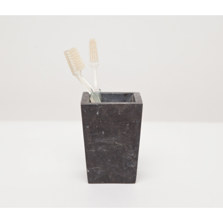 Black matte marble Luxor brush holder.