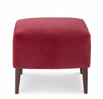 Malmo Ottoman - Velvet with Mid Century Brown Legs