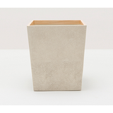 Ivory Manchester Faux Shagreen Square Wastebasket.
