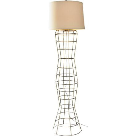 Marcello Floor Lamp - All structure and form with a simple contoured metal frame in Sahara Gold.