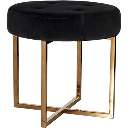 Worlds Away Melanie black velvet upholstered round stool with a brass base.