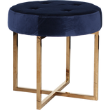 Worlds Away Melanie navy velvet upholstered round stool with a brass base.