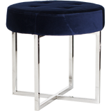 Worlds Away Melanie navy velvet upholstered round stool with a nickel base.