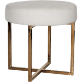 Worlds Away Melanie white linen upholstered round stool with a brass base.
