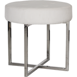 Worlds Away Melanie white linen upholstered round stool with a nickel base.