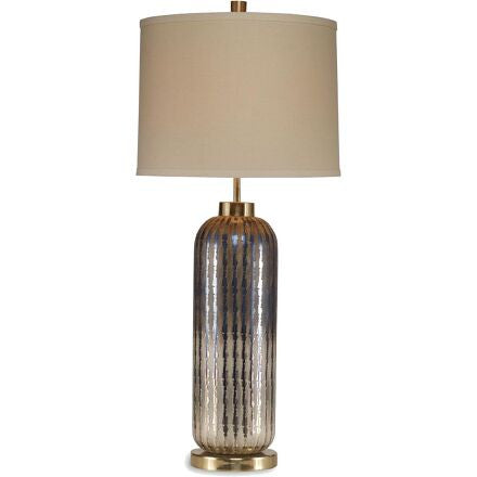 Millen Table Lamp - Cylinder Table Lamp in Metallic Strie