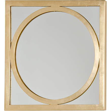 Worlds Away Mirtico square mirror with a gold leaf inset circle detail and frame.