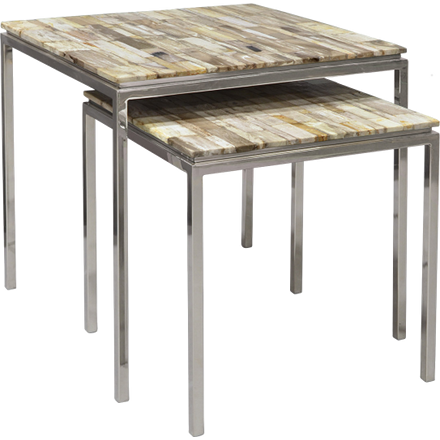 Set of 2 stainless steel framed square side table with petrified hand-cut and inlaid mosaic pattern table top.