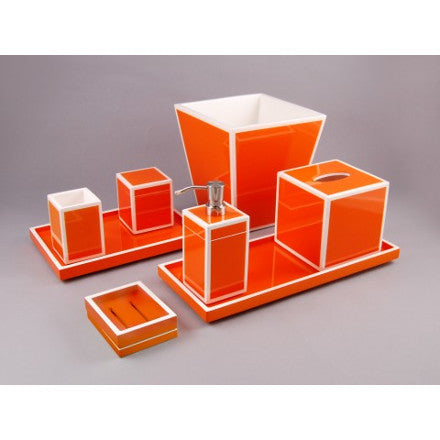Orange with White Trim Lacquer Bath Accessories