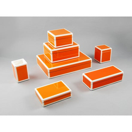 Orange with White Trim Lacquer Box Collection