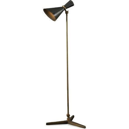 Oristano Floor Lamp - Solid Aged Brass Details and Striking Steel Lampshade