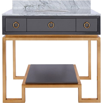 Worlds Away Owen grey lacquer two drawer Greek key gold leaf base bath vanity with a lacquer bottom shelf and white carrara marble top with backsplash.
