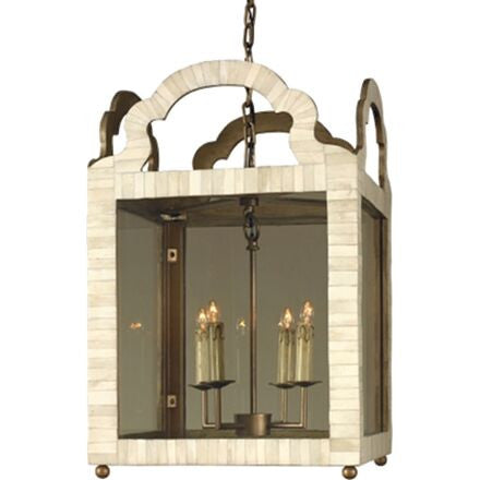 Paris Lantern - Ivory Bone Lantern Based on a Classic Old World Mirror