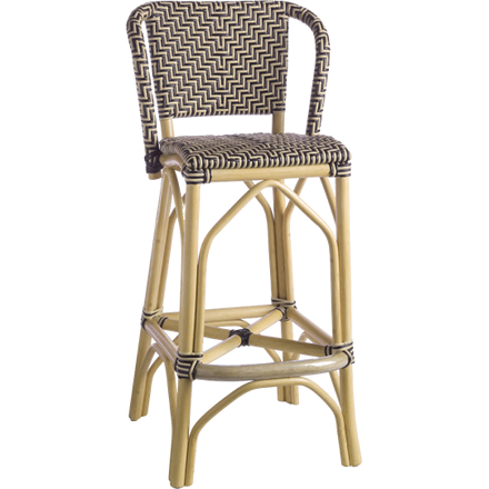 Pole rattan frame and legs stool; upholstered in high quality plastic that is UV resistant.
