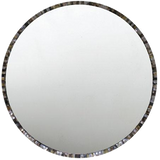 Round mirror mirror trimmed with one of two mother of pearl finishes.