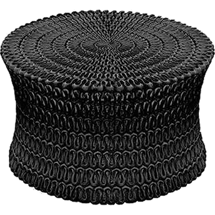 Black Cast resin is formed into a drum shape and then shaped and pierced to resemble rows and rows of rippling ribbon.
