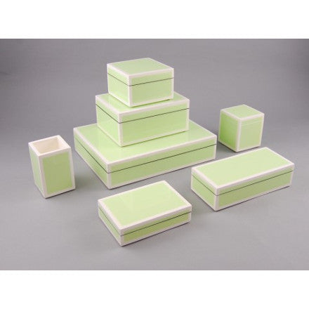 Pistachio Green with White Trim Lacquer Box Collection