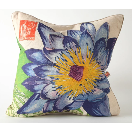 Purple and Blue Lotus Flower Pillow