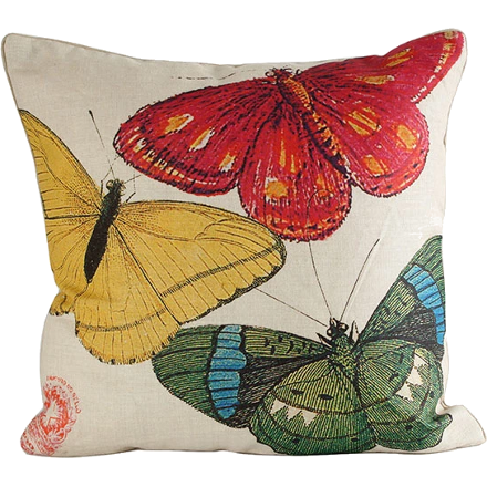 Red, Yellow and Green Butterflies Pillow