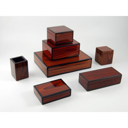 Rosewood Inlay with Brown Trim Lacquer Box Collection