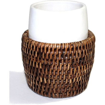 Antique brown woven rattan round toothbrush holder. This can also be used to hold Qtips, makeup brushes, etc.