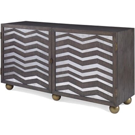 Rousseau - Cabinet with Chevron Pattern on Doors and Two Shelves