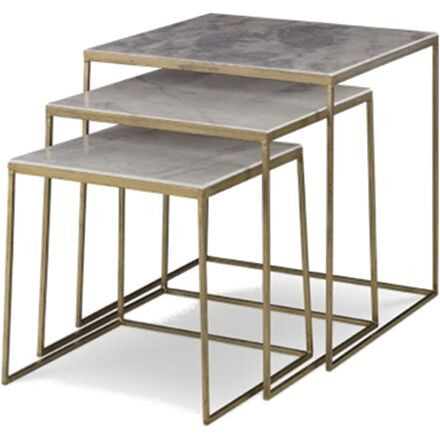 Sanchez - Three Gold Nesting Tables with Marble Inserts
