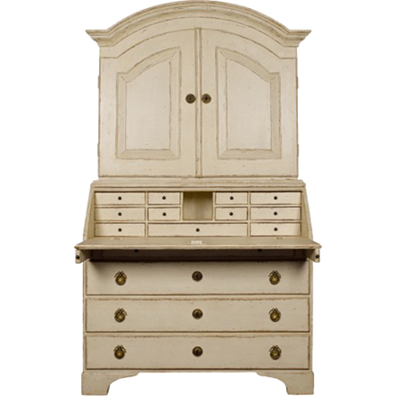 Secretaire - Antique White Partially Open Hand Carved Out of Solid Wood
