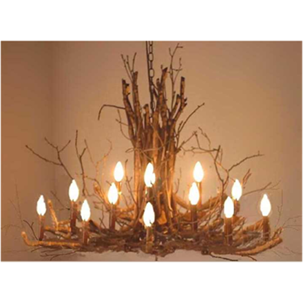 This rustic chandelier is made from tree branches and twigs. Can be customized with any Benjamin Moore paint color. Two sizes available