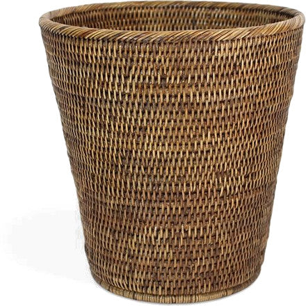 Antique brown woven rattan waste basket.
