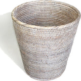White wash woven rattan bath tray.