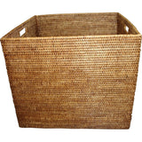 Square antique brown woven rattan laundry basket with cutout handles.