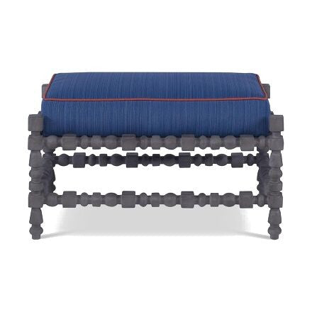 St. Tropez - Oak Ottoman with Hand-Carved Details